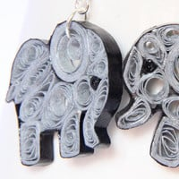 Elephant Earrings Eco Friendly Fashion Grey Handmade by Paper Quilling OOAK Artisan Jewelry with NIobium Earring Hooks