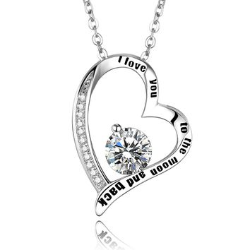 Women's 925 Sterling Silver 'I Love You to The Moon and Back' Heart Pendant Necklace Mothers Day Gift