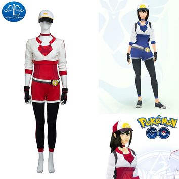 Women Blue Red Yellow  GO Cosplay Costume  Pocket Monster Trainer Costume With Hat Halloween Costumes For WomenKawaii Pokemon go  AT_89_9