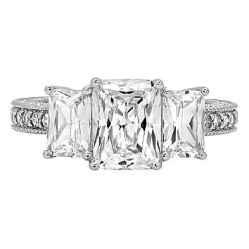 14K White Gold 4TCW Emerald Cut Russian Lab Diamond Journey Ring