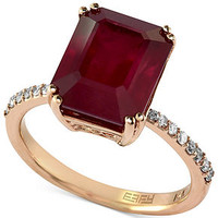 Rosa by EFFY 14k Rose Gold Ring, Ruby (5-3/8 ct. t.w.) and Diamond (1/6 ct. t.w.) Square Ring - Rings - Jewelry & Watches - Macy's