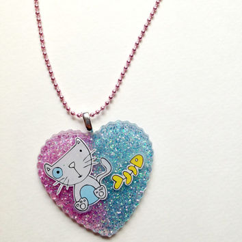 Cute Kitty Necklace//Glitter Resin Pendant//Kawaii Jewelry