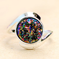 Druzy Ring,Peacock Ring,Crystal Ring,Agate Ring,Gemstone Ring,Geode Ring,statement ring,stone ring,drusy ring,silver,jewelry,unique