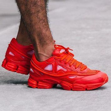 CREY8KY Raf Simons x Adidas Consortium Ozweego S74584 Red Women Men Casual Trending Running Sneakers