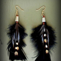 Black Spotted Feather Earrings Elegant Beaded Tribal