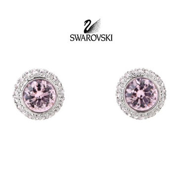 Swarovski Pink Crystal FLIRT Light Amethyst Pierced Earrings #973764