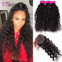 Tinashe Hair Water Wave Bundles With Closure Brazilian Hair Weave Bundles With Closure Remy Human Hair Bundles With Closure