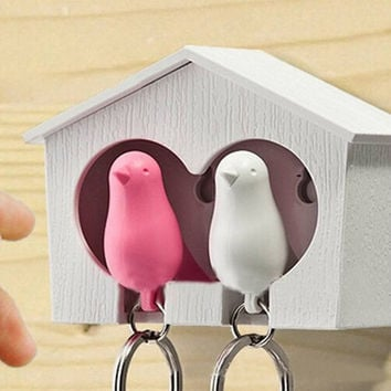 2016 New Arrival llavero Whistle Bird House keychains couple Wall Mount Hook Sparrow Birdhouse Key chain keychain for the keys
