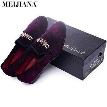 Man shoes luxury 2016  loafers man shoes Purple metal buckle man shoes brand leather