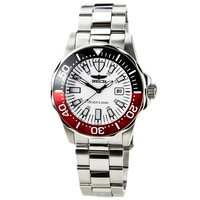 Invicta 15029 Men's Pro Diver White Dial Red & Black Bezel Steel Bracelet Dive Watch