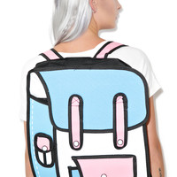 Dolls Kill 2 Delusional Cartoon Backpack Blue/White One