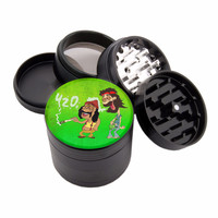 "420 Cheech & Chong Design - 2.25"" Premium Black Herb Grinder - Custom Designed"