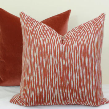 "Brick red reversible decorative throw pillow cover. 18"" x 18"". 20"" x 20"".22"" x 22"". 24"" x 24"".26"" x 26"". lumbar sizes"