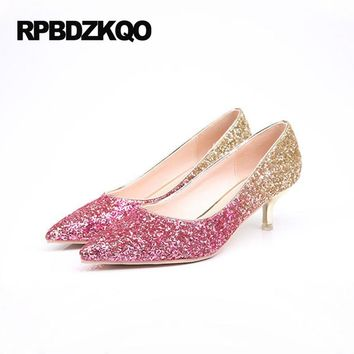 Custom Wedding And Prom Party Low Kitten High Heel Shoes Wine Red Silver  Gold Glitter Pointed 903ad082e92b