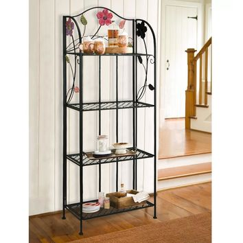 Four Tier Open Iron Shelf with Floral and Scroll Work Accents, Black