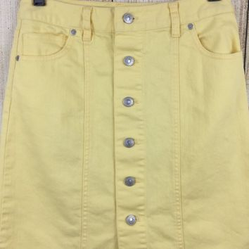 Talbots Petites Button Front Yellow Denim Skirt