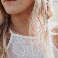 High Neck Alencon Lace Bralette - White