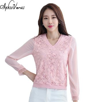 Women Chiffon Blouse Femme Summer Hollow Out Long Sleeve Casual Tops Shirts Female Elegant Loose V-neck Lace Blouse Solid Tops