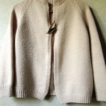 Handknit Sweater cardigan hand knit cardi vintage 60s mad men sweater mori girl clothing acrylic yarn beige natural tan women medium large
