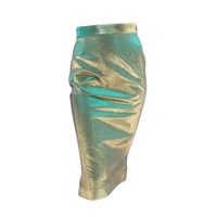 VIVIENNE WESTWOOD Anglomania Size 8 Green & Gold Sparkle Lurex Pencil Skirt