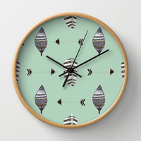 Feather Arrow Blue Wall Clock by ALLY COXON | Society6