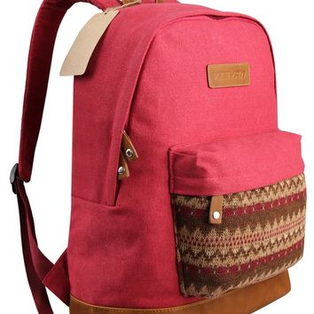 Hynes Eagle Canvas Casual Backpack for School (Red)