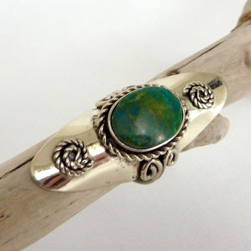 Adjustable Chrysocolla Vintage Ring.