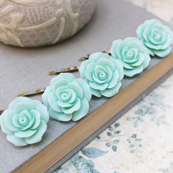 Aqua Rose Bobby Pins Set of Five Hair Clips Wedding Bridal Hair Slides Romantic Floral Accessories Flower Hair Clips Rose Garden Pastel Mint