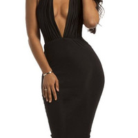 Black Halter Backless Bodycon Midi Dress