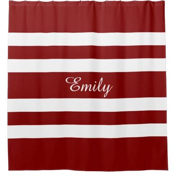 Personalized Name Red And White Bold Stripes Shower Curtain