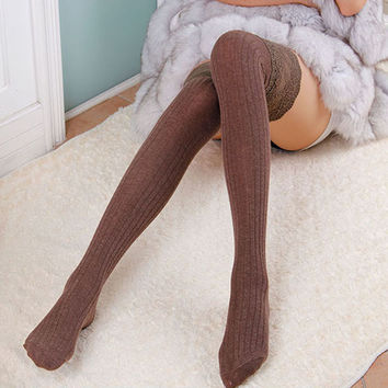 Woman Wool Braid Over Knee Socks Thigh Highs Hose Stockings Twist Warm Winter  3759