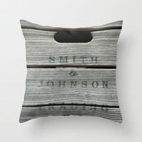 Old wooden box from overseas Throw Pillow by Tanja Riedel