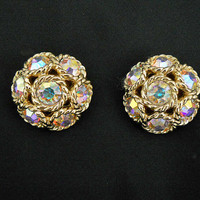 60s Vintage Sarah Coventry Aurora Rhinestone Clip On Earrings - 1960s