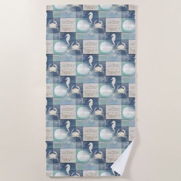 Beach Happy Place Blue Aqua Sea Beach Towel