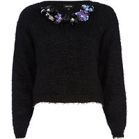 River Island Womens Black fluffy lurex sequin floral trim sweater