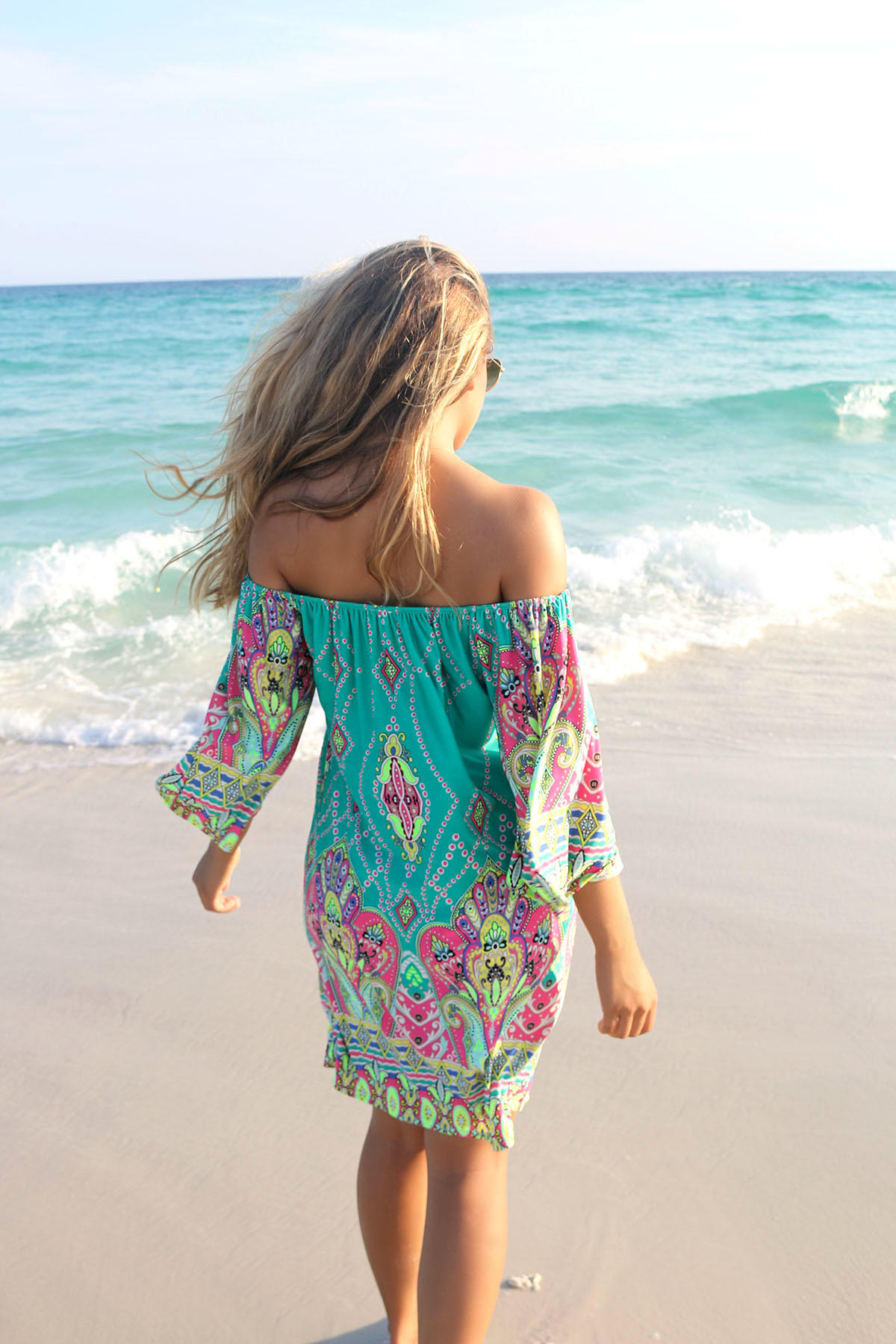 94ec9e6379f2 Bora Bora Off The Shoulder Quarter Sleeve Printed Jade Dress