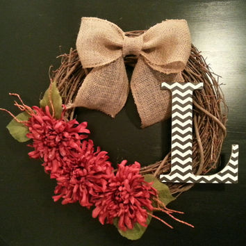 Grapevine Door Wreath, Fall Wreath, with a Chevron Monogram, Red Floral and a Burlap Bow