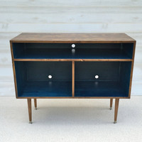 Mid Century Modern Record Cabinet TV Table Media TV Stand Entertainment Cabinet, MCM Navy and Walnut (or color of choice)