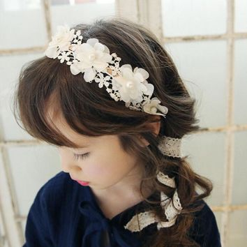 2017 New Fashion Korea Cute Princess Headband Long Lace Ribbon Flower Hairbands Wreath Girls Headwear Kids Hair Accessories