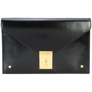 Thom Browne Folder Clutch In Black Calf Leather - Farfetch