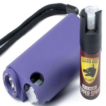 Guard Dog All-In-One Stun Gun-Flashlight-Pepper Spray -Prpl