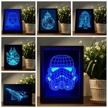 NEW Star Wars Darth Vader Stormtrooper BB-8 R2D2 Captain America Aircraft LED Color Changing Picture Frame Table Lamp Night Light