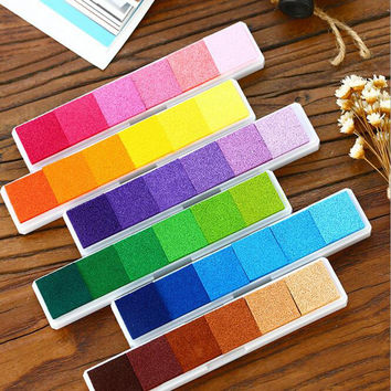Long Gradient Inkpad Stamp pad Colorful Cartoon Craft Inkpad set for DIY Scrapbooking Accessories Color Ink Pad Office Supplies