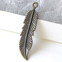 Long Feather Charms Antique Bronze Pendant 11x45mm Set of 10 A8297