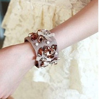 1pcs girls' accessories Fashion Bow Cloth rhinestone Cuff Bracelet new arrival