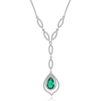 Simulated Pear Shaped Emerald and CZ Formal Occasion Statement Necklace