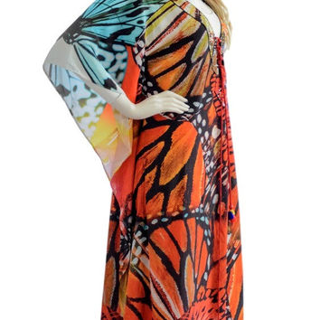 Multicolor butterfly kaftan dress, kaftan, caftan, maxi dress, beach dress, kaftan maxi dress