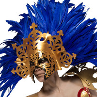 gold and cobalt blue masquerade or displayable art piece mask.