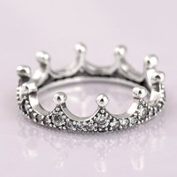 Authentic 925 Sterling Silver Ring Enchanted Crown With Crystal Rings For Women Wedding Party Gift Fine Pandora Jewelry
