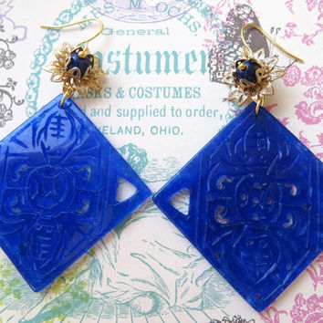 Blue carved jade earrings, burma jade jewelry, rhombus gemstone earrings,  uk lapis jewellery, vintage style filigree jewels, italian design